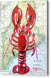 Vintage Map Maine Red Lobster Acrylic Print by Scott D Van Osdol