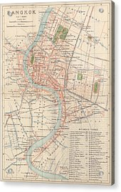 Acrylic Print featuring the drawing Vintage Map Of Bangkok, Thailand From 1920 by Blue Monocle