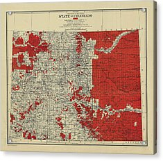 Vintage Map Of Colorado Acrylic Print