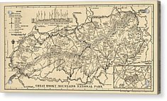 Vintage Map Of Great Smoky Mountains National Park From 1941 Acrylic Print