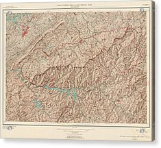 Vintage Map Of Great Smoky Mountains National Park - Usgs Topographic Map - 1949 Acrylic Print by Blue Monocle