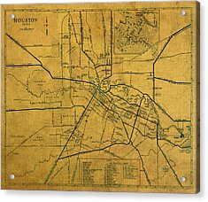 Vintage Map Of Houston Texas City Schematic On Worn Old Parchment  Acrylic Print