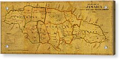 Vintage Map Of Jamaica From 1882 On Worn Parchment Acrylic Print by Design Turnpike