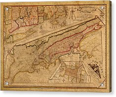 Vintage Map Of Manhattan Island 1821 Antique On Worn Canvas  Acrylic Print by Design Turnpike