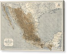 Acrylic Print featuring the drawing Vintage Map Of Mexico - 1911 - National Geographic by Blue Monocle