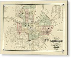 Vintage Map Of Nashville Tennessee - 1877 Acrylic Print by CartographyAssociates
