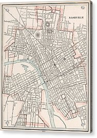Vintage Map Of Nashville Tennessee - 1901 Acrylic Print by CartographyAssociates