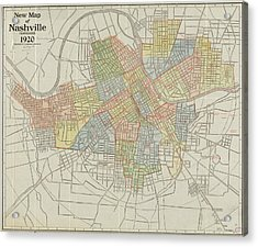 Vintage Map Of Nashville Tennessee - 1920 Acrylic Print by CartographyAssociates