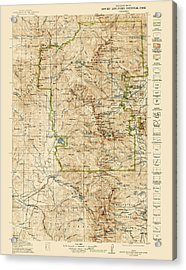 Vintage Map Of Rocky Mountain National Park - Colorado - 1919/1940 Acrylic Print by Blue Monocle
