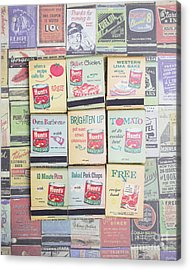 Acrylic Print featuring the photograph Vintage Matchbooks by Edward Fielding