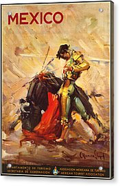 Vintage Mexico Bullfight Travel Poster Acrylic Print