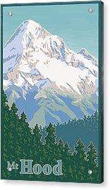 Vintage Mount Hood Travel Poster Acrylic Print