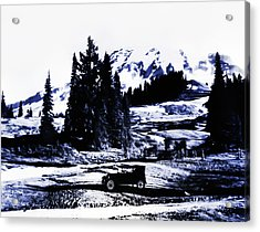 Vintage Mount Rainier With Antique Car Early 1900 Era... Acrylic Print