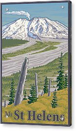 Vintage Mount St. Helens Travel Poster Acrylic Print by Mitch Frey