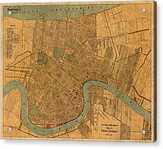 Vintage New Orleans Louisiana Street Map 1919 Retro Cartography Print On Worn Canvas Acrylic Print by Design Turnpike