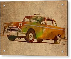 Vintage New York City Taxi Cab Watercolor Painting On Worn Canvas Acrylic Print