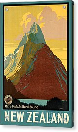 Vintage New Zealand Travel Poster Acrylic Print by George Pedro