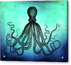 Vintage Octopus On Blue Green Watercolor Acrylic Print