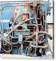 Acrylic Print featuring the photograph Vintage Old Diesel Engine On A Ship by Yali Shi