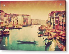 Vintage Painting Of Venice, Italy. Gondola Floats On Grand Canal Acrylic Print