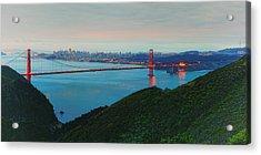 Vintage Panorama Of The Golden Gate Bridge From The Marin Headlands - San Francisco California Acrylic Print by Silvio Ligutti