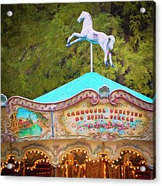 Acrylic Print featuring the photograph Vintage Paris Carousel by Melanie Alexandra Price