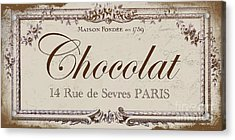 Vintage Paris Chocolate Sign Acrylic Print by Mindy Sommers