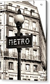 Vintage Paris Metro Acrylic Print by John Rizzuto