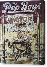 Acrylic Print featuring the photograph Vintage Pep Boys Sign by Christina Lihani