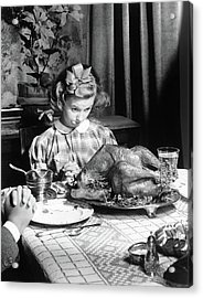Vintage Photo Depicting Thanksgiving Dinner Acrylic Print by American School