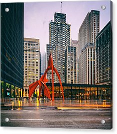 Vintage Photo Of Alexander Calder Flamingo Sculpture Federal Plaza Building - Chicago Illinois  Acrylic Print
