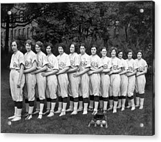 Vintage Photo Of Women's Baseball Team Acrylic Print