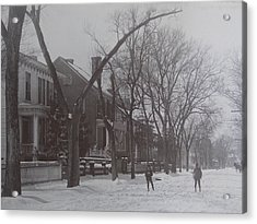 Vintage Photograph 1902 Snowball Fight New Bern Nc Acrylic Print by Virginia Coyle