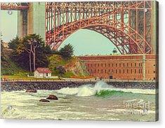Vintage Photograph Of Fort Point And Golden Gate Bridge - San Francisco California Acrylic Print by Silvio Ligutti