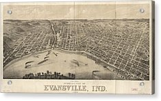 Vintage Pictorial Map Of Evansville Indiana - 1880 Acrylic Print by CartographyAssociates