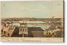 Vintage Pictorial Map Of Minneapolis Mn - 1874 Acrylic Print