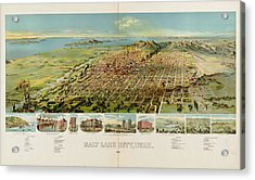 Vintage Pictorial Map Of Salt Lake City - 1891 Acrylic Print