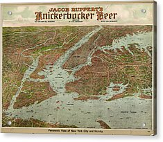 Vintage Pictorial Map Of The Nyc Area - 1912 Acrylic Print