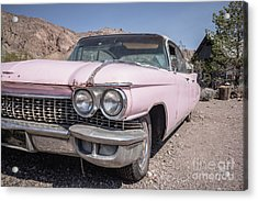 Vintage Pink Cadillac In The Nevada Desert Acrylic Print