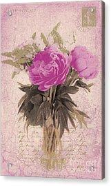 Vintage Pink Peonies Acrylic Print