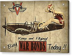 Vintage Pinup Warbond Ad Acrylic Print