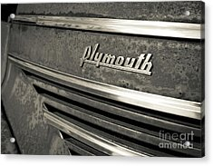 Acrylic Print featuring the photograph Vintage Plymouth Nameplate by Edward Fielding