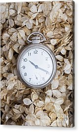Acrylic Print featuring the photograph Vintage Pocket Watch Over Dried Flowers by Edward Fielding