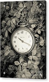 Vintage Pocket Watch Over Flowers Acrylic Print by Edward Fielding