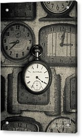 Acrylic Print featuring the photograph Vintage Pocket Watch Over Old Clocks by Edward Fielding