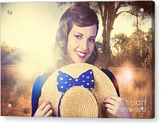 Vintage Portrait Of A Country Pinup Girl Acrylic Print