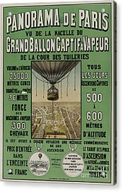 Acrylic Print featuring the photograph Vintage Poster Of Great Balloon View Of Paris 1878 by John Stephens