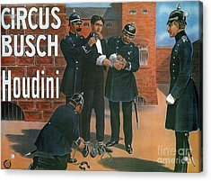 Vintage Poster Showing Houdini Prior To An Escape From A German Prison, 1907 Acrylic Print