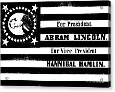 Vintage Presidential Campaign Flag Of Abraham Lincoln For President Acrylic Print by American School
