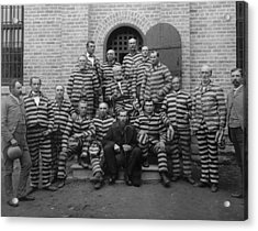 Vintage Prisoners In Striped Uniforms - 1889 Acrylic Print by War Is Hell Store